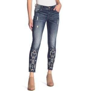 MISS ME Embroidered Skinny Ankle Jeans NEW